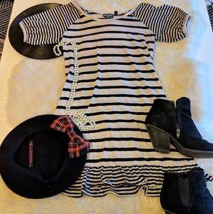 Eclipse Striped ruffle short sleeve tunic dress